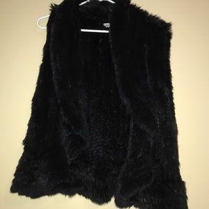 Genuine rabbit fur lined vest